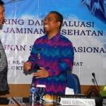 Wakil Gubernur NTB, H Muh Amin dan Perwakilan Dewan Jaminan Sosial Nasional, Dr Supriyantoro pada acara Monitoring dan Evaluasi Program Jaminan Kesehatan Provinsi NTB di Ruang Rapat Utama Kantor Gubernur NTB, Kamis (23/10).