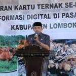 Gubernur NTB, TGH M Zainul Majdi saat memberikan sambutan pada acara peluncuran kartu ternak se-Pulau Lombok di Pringgasela, Lotim.